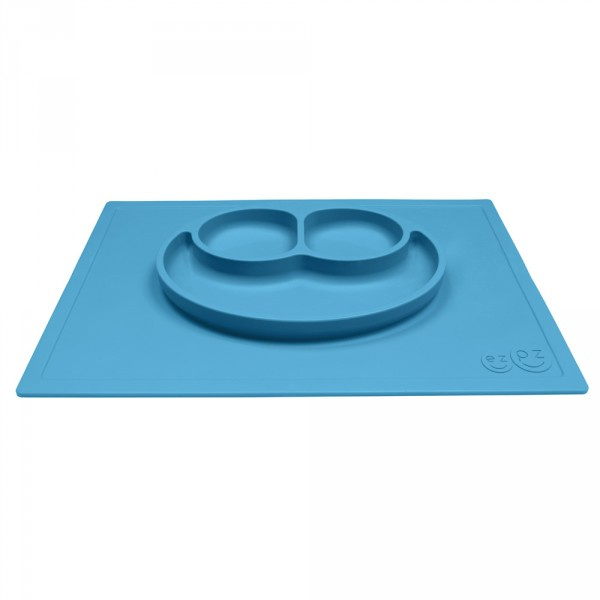 Assiette et set de table tout-en-un happy mat bleu Ezpz