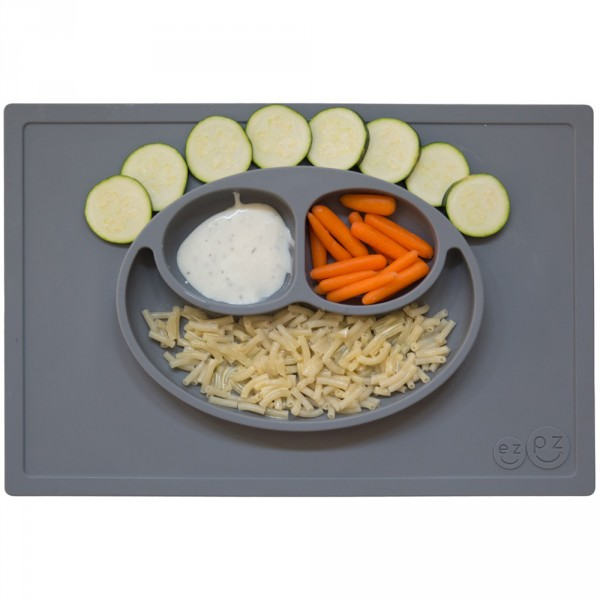 Assiette et set de table tout-en-un happy mat gris Ezpz