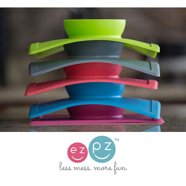 Bol avec set de table tout-en-un happy bowl gris Ezpz