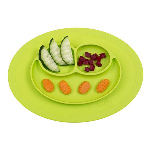 Assiette et set de table tout en un mini mat lime Ezpz