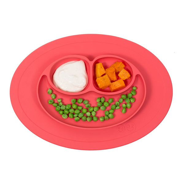 Assiette et set de table tout en un mini mat corail Ezpz