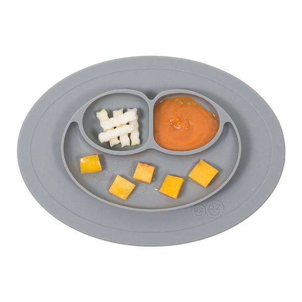 Assiette et set de table tout en un mini mat grey Ezpz