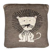 Coussin tricot 30 x 30 cm lion
