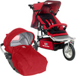 Poussette combiné duo shop and jogg rc2 rouge/gris perle de Red castle