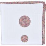 Lange fine vintage 120 x 120 cm blanc neige / liberty rose pas cher