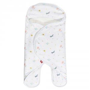 Couverture babynomade double polaire 0-6 mois happy fox / blanc