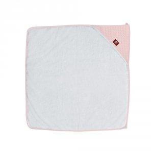Sortie de bain bébé blanc / rose poudré