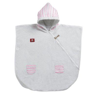 Poncho de bain bébé blanc / rose poudré rayé marin Red castle