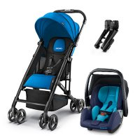 Poussette duo easylife saphir + coque privia xenon blue + adaptateurs