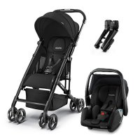 Poussette duo easylife black + coque privia performance black + adaptateurs