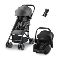 Poussette duo easylife elite graphite + coque guardia peformance black + adaptateurs