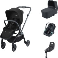 Pack poussette trio sadena black et assise + nacelle + siège auto avan night black + base