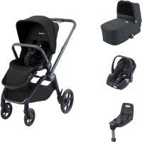 Pack poussette trio celona black et assise + nacelle + siège auto avan mat black + base