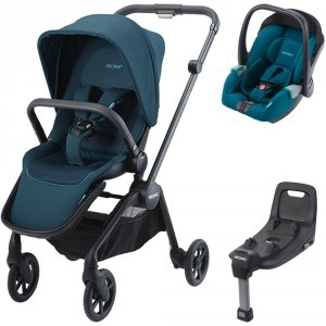 Pack poussette duo sadena black + assise et siège auto avan teal green + base