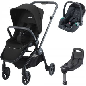 Pack poussette duo sadena black + assise et siège auto avan night black + base