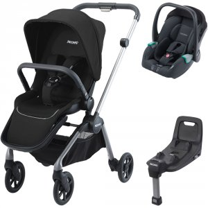 Pack poussette duo sadena alu + assise et siège auto avan night black + base