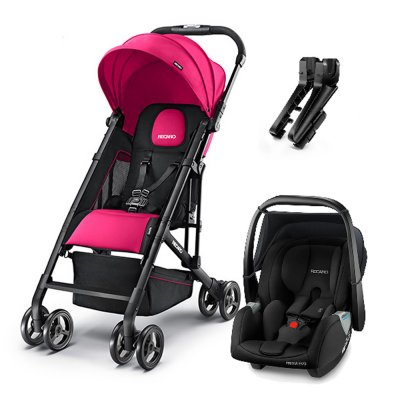 Poussette duo easylife pink + coque privia performance black + adaptateurs Recaro