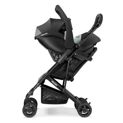 Poussette duo easylife elite black + coque guardia performance black + adaptateurs Recaro