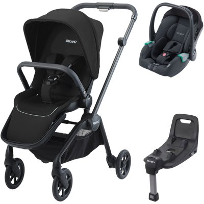 Pack poussette duo sadena black + assise et siège auto avan night black + base Recaro