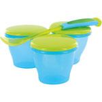 Lot de 3 petits pots et cuillère bleu pas cher