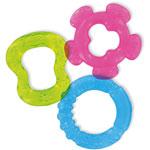 3 anneaux de dentition à rafraichir bleu vert et rose