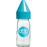 Biberon verre 110 ml dbb tétine silicone turquoise