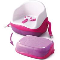 Réhausseur bébé avec marche pied rose/blanc
