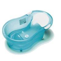 Baignoire bébé 0-6 mois + transat intégré turquoise translucide