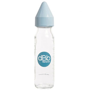 Biberon en verre dbb tétine caoutchouc bleu ciel 240ml