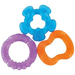 Lot de 3 anneaux de dentition à rafraîchir rouge/bleu/violet