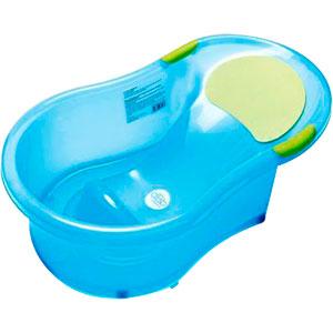 Baignoire bébé + transat intégré bleu translucide