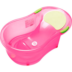 Baignoire bébé + transat intégré rose translucide
