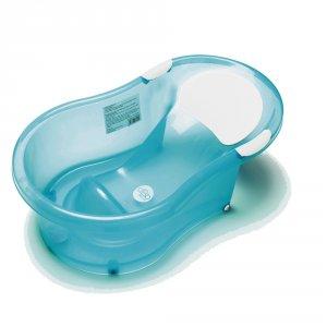 Baignoire bébé + transat intégé turquoise translucide