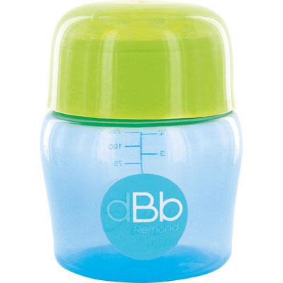 Biberon sans bpa large ouverture compact tétine débit moyen bleu/vert 150ml Dbb remond