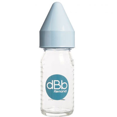 Biberon verre 110 ml dbb tétine caoutchouc bleu ciel Dbb remond
