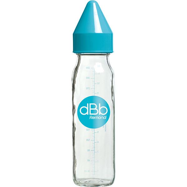 Biberon verre 240 ml dbb tétine silicone turquoise Dbb remond