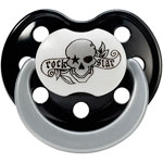 Sucette silicone'tattoo pirate' noir/blanc t2 pas cher