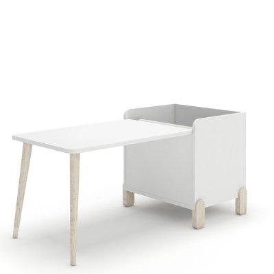 Table bureau blanc pieds naturel avec coffre dessin et porte rouleau Ros arco iris