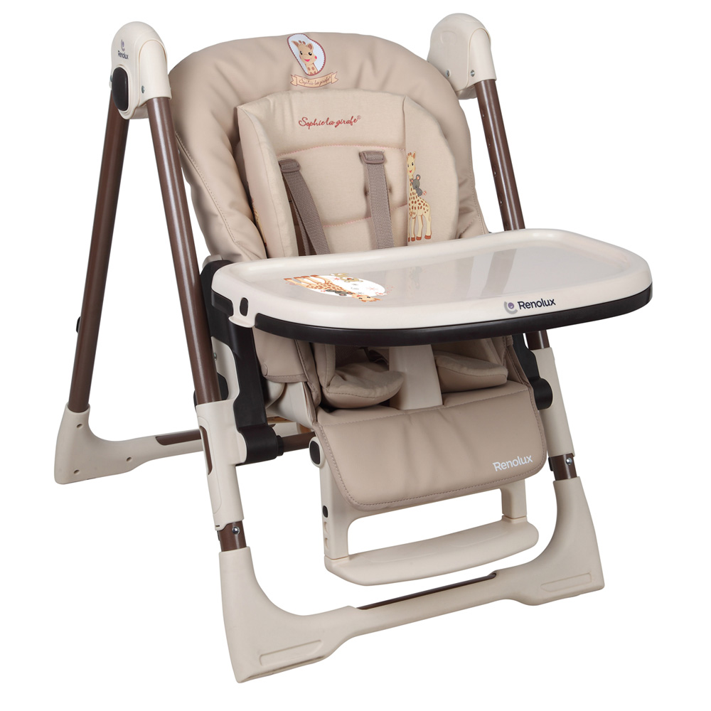 chaise haute b b vision avec r ducteur sophie la girafe de renolux en vente chez cdm. Black Bedroom Furniture Sets. Home Design Ideas