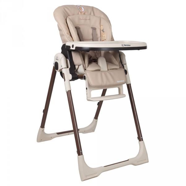 Chaise haute b b vision avec r ducteur sophie la girafe for Chaise haute des la naissance