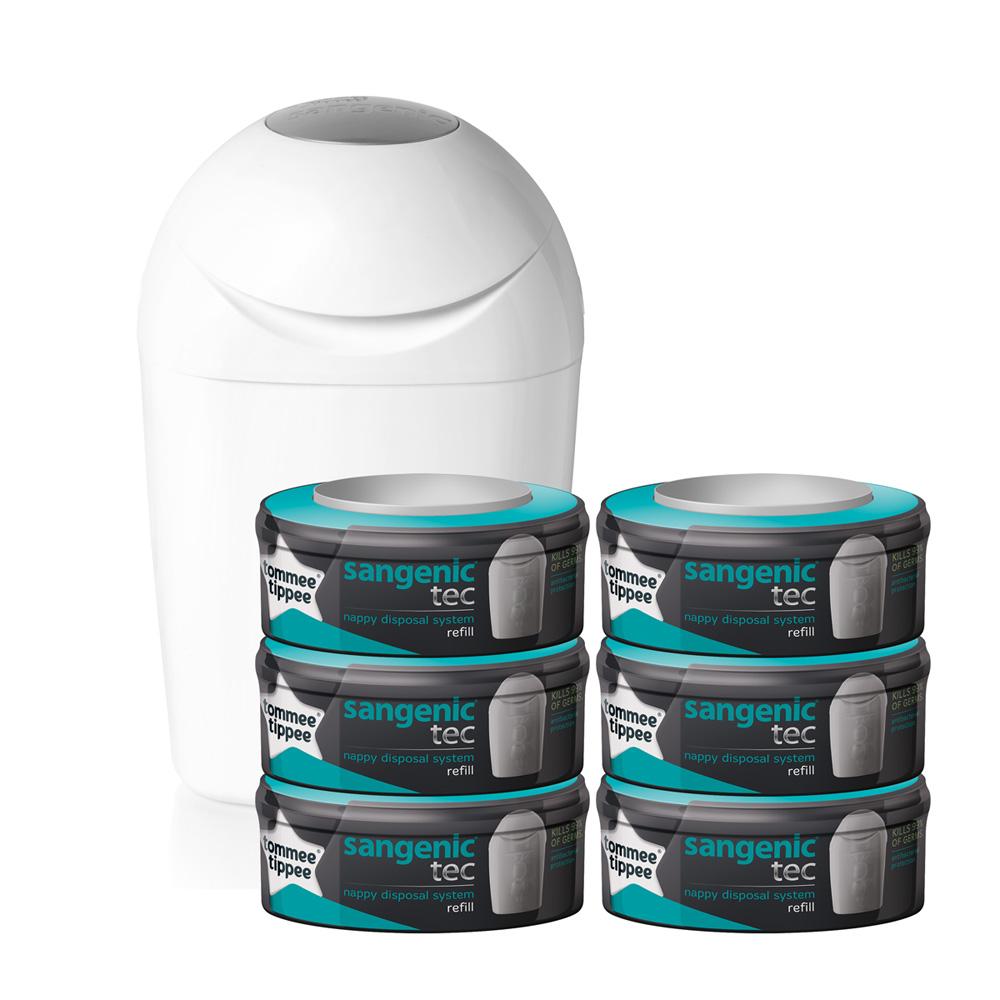 starter pack poubelle tec blanc 6 recharges de sangenic. Black Bedroom Furniture Sets. Home Design Ideas