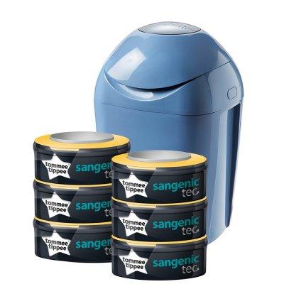 Starter pack poubelle tec bleu + 6 recharges Sangenic