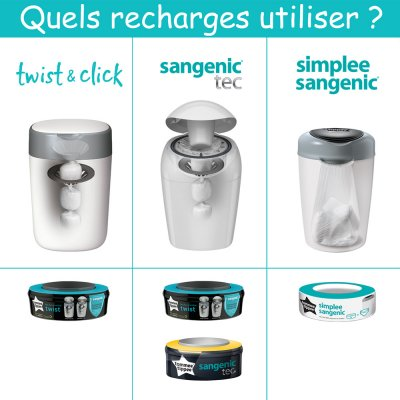 Lot de 3 recharges twist and click Sangenic