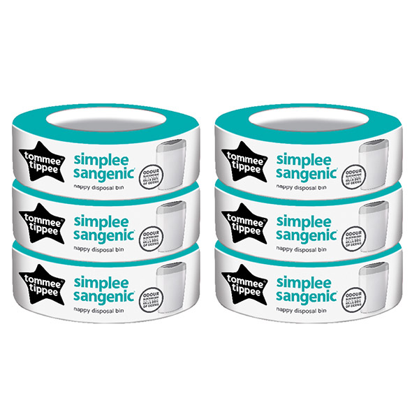Multipack 6 recharges pour poubelle simplee Sangenic
