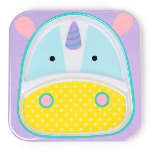 Assiette bébé à compartiment zoo licorne