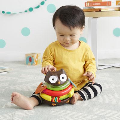 Jouet d'éveil bébé culbuto et boulier hibou Skip hop