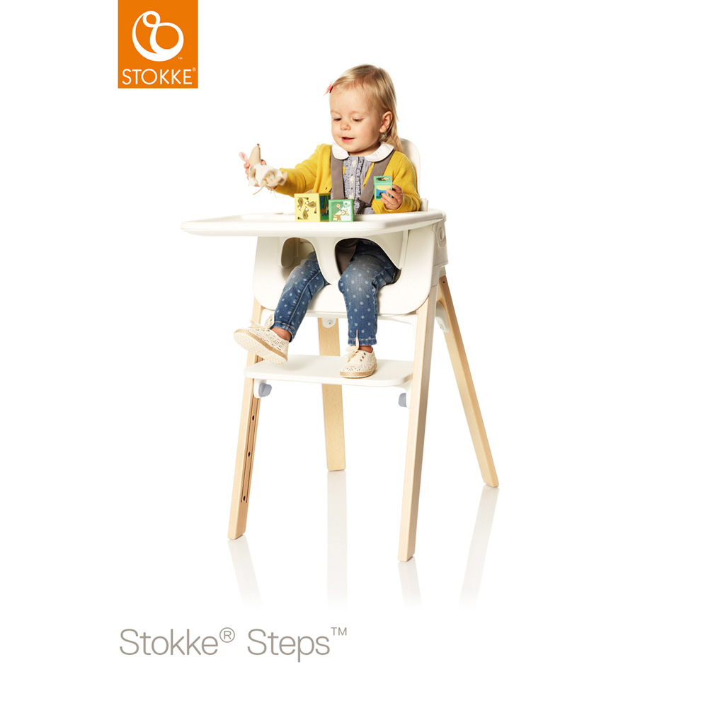 Tablette chaise steps blanc de stokke sur allob b for Chaise stokke