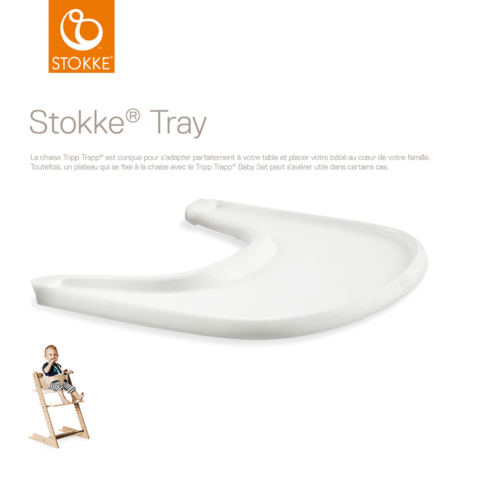 plateau tray pour chaise haute tripp trapp blanc de stokke sur allob b. Black Bedroom Furniture Sets. Home Design Ideas