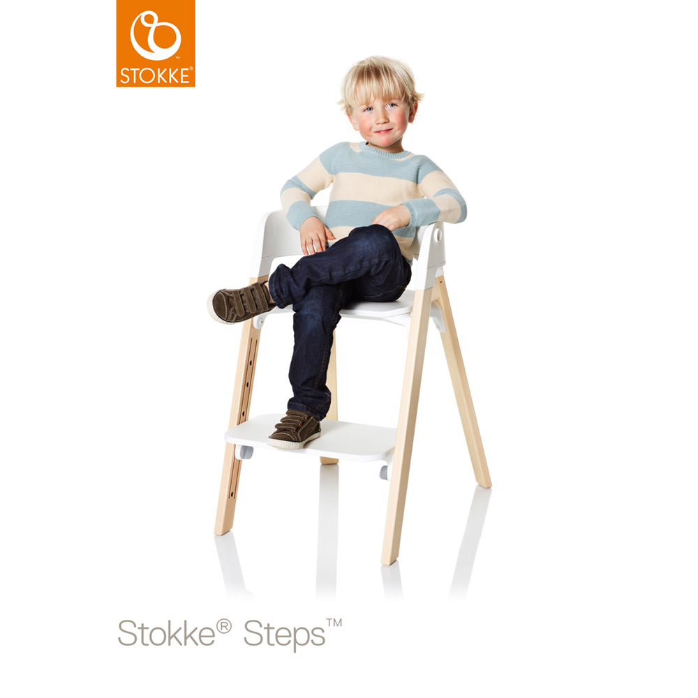 assise pour la chaise haute steps blanc de stokke sur allob b. Black Bedroom Furniture Sets. Home Design Ideas