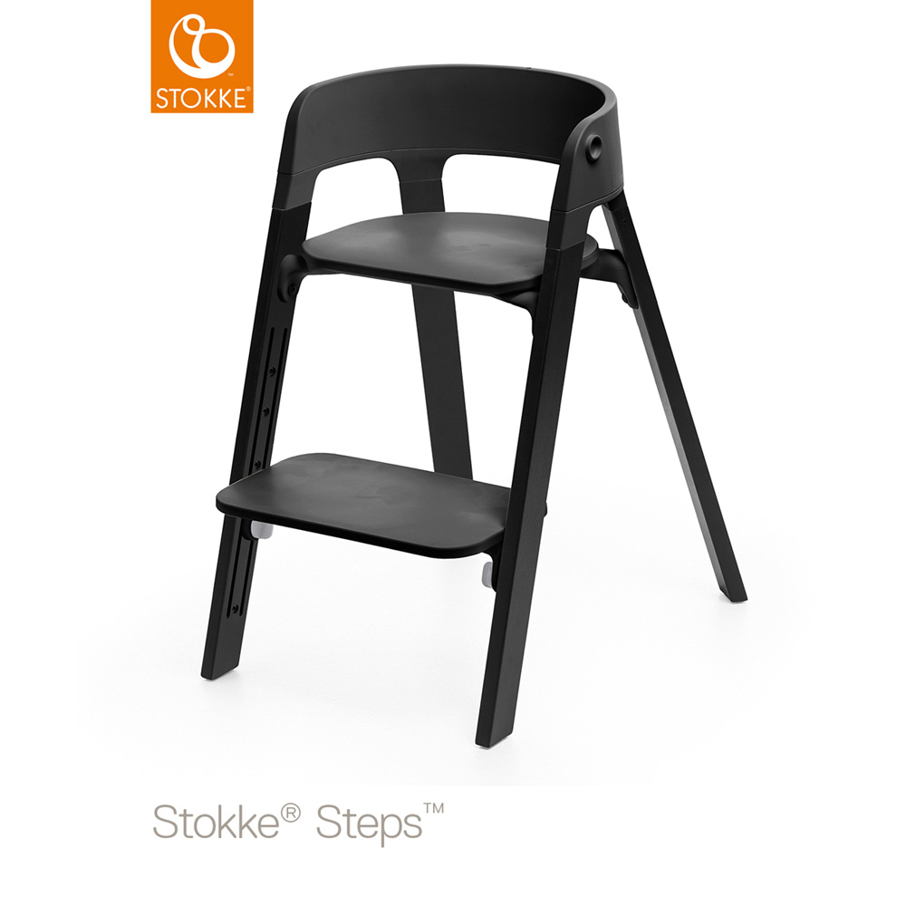 Assise pour la chaise haute steps noir de stokke sur allob b for Assise chaise haute